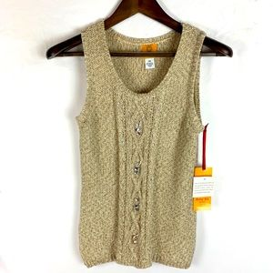 Ruby Rd. Sleeveless Knitted/Jeweled Sweater PM NWT